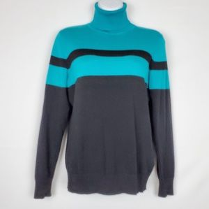 Joseph A. Blue/Black Turtleneck Sweater Women M
